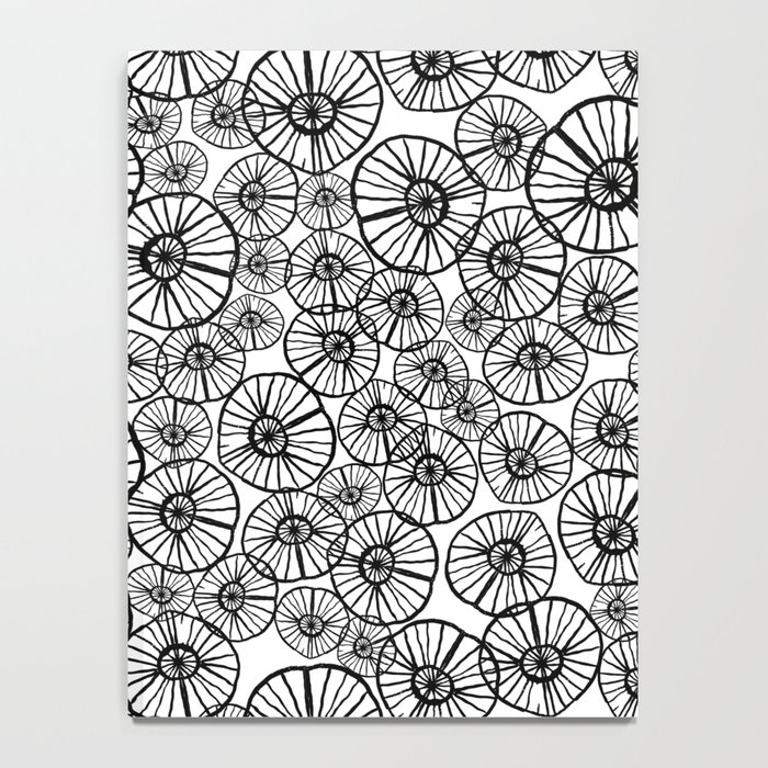 Lexi - squiggle modern black and white hand drawn pattern design pinwheels natural organic form abst Notebook