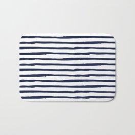Navy Blue Stripes on White Bath Mat