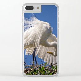 Great Egret Feathers Clear iPhone Case