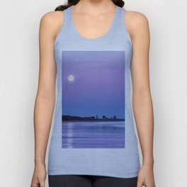 Supermoon setting at Saltburn-by-the-sea Unisex Tank Top