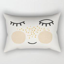 Eyelashes, Cute, Mid century modern kids wall art, Nursery room Rectangular Pillow