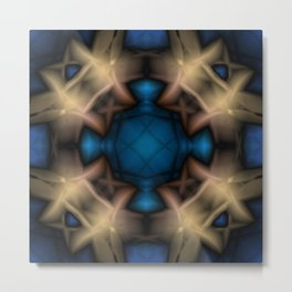 Abstract pattern. Black blue yellow background. Metal Print
