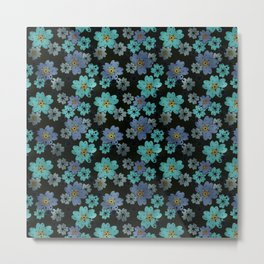 Blue and turquoise flowers on a black background . Metal Print