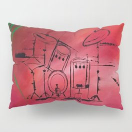 Music, Drummer, Drums, Orignal Artwork By Jodi Tomer. Rock and Roll Drums Pillow Sham