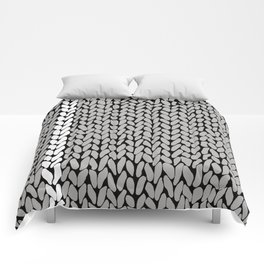 Grey Knit With White Stripe Comforters