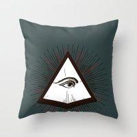 illuminati Throw Pillows featuring Illuminati by Heiko Hoos