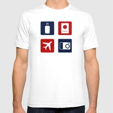 Travel Icons in RWB SMALL White Mens Fitted Tee