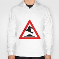 snowboard Hoodies featuring Snowboard road sign by Komrod