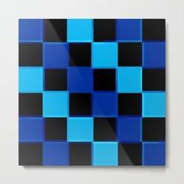 Blue & Black 3D Checkerboard Metal Print