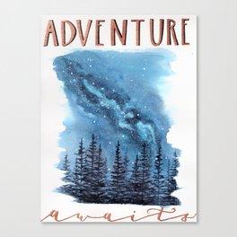 """Adventure Awaits"" watercolor galaxy landscape illustration Canvas Print"