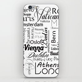 European capitals on white iPhone Skin