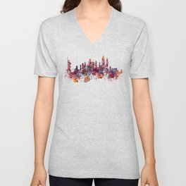New York Skyline Silhouette Unisex V-Neck