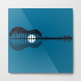 Trees sea and the moon turned guitar Metal Print