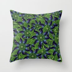 Vintage Blue Floral Pattern Collage Throw Pillow
