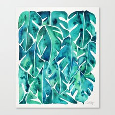 Split Leaf Philodendron – Teal Canvas Print