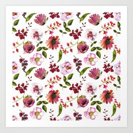 Gentle Scattered Pink and Coral Peonies on White  Art Print