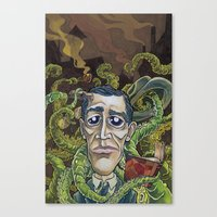 lovecraft Canvas Prints featuring H.P. Lovecraft by Pajamarai Illustrations
