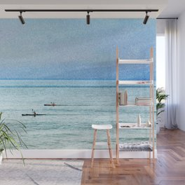 Seascape with kayaks watercolor Wall Mural