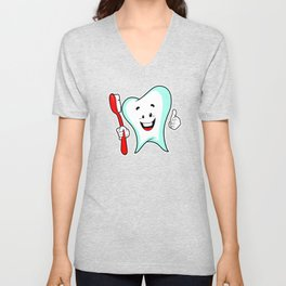 Dental Care happy Tooth with Toothbush Unisex V-Neck