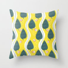 ski between the trees Throw Pillow
