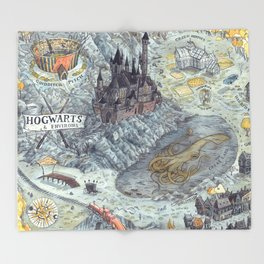 Map of Hogwarts Throw Blanket