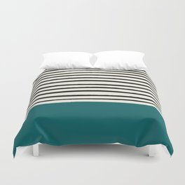 Dark Turquoise & Stripes Duvet Cover