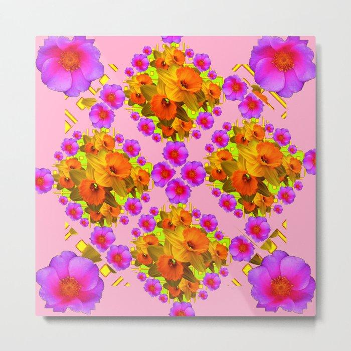 Pink Coral Cerise Roses & Daffodils Floral Metal Print