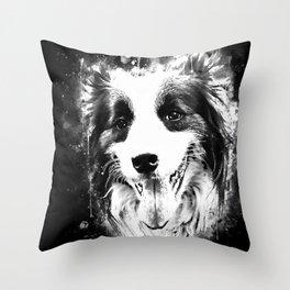 border collie shepherd dog splatter watercolor white Throw Pillow