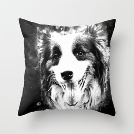 border collie shepherd dog splatter watercolor white Throw Pillow