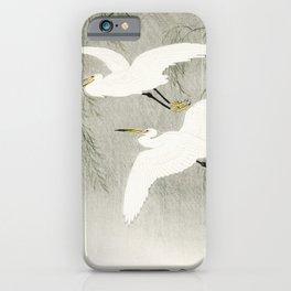 Flying Egrets - Japanese vintage woodblock print iPhone Case