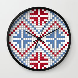 Red and blue art print Wall Clock