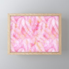Pink Flamingo Feather Pattern Framed Mini Art Print
