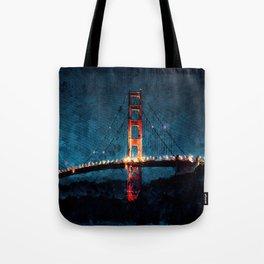 Digital Painting - San Francisco Bridge Tote Bag