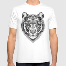 Bengal Tiger White Mens Fitted Tee MEDIUM