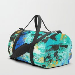 Abstract blue turquoise gold brushstrokes original acrylic painting Duffle Bag