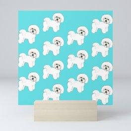 Bichon Frise on aqua / teal / cute dogs/ dog lovers gift Mini Art Print