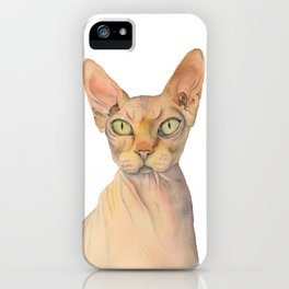 Sphynx Cat Watercolor Portrait iPhone Case