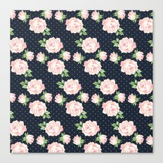 Blue and Pink Vintage Rose Pattern Canvas Print