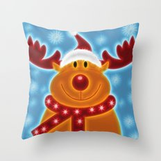 Happy Christmas Reindeer Throw Pillow