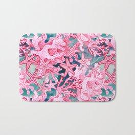 Pink Starfish and coral watercolor reef Bath Mat