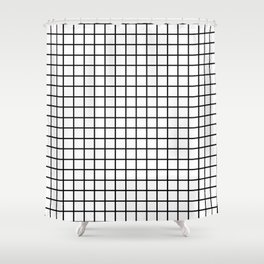 fine black grid on white background - black and white pattern Shower Curtain