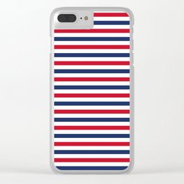 Navy Stripes Clear iPhone Case