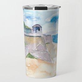 Ajaccio Corsica France - Beach and Fortress Travel Mug