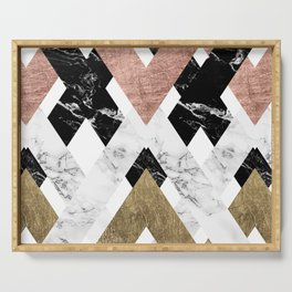 Modern geometric chevron black white marble rose gold foil gold triangles pattern Serving Tray