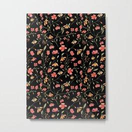 Dark Floral Pattern Metal Print