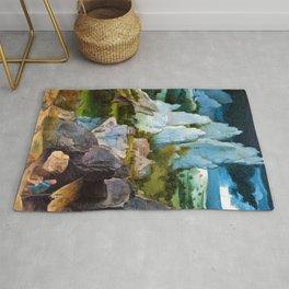 Joachim Patinir - Saint Jerome in a Rocky Landscape - Digital Remastered Edition Rug