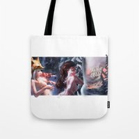 postcard Tote Bags featuring Holidays Postcard by Vladimir Wood