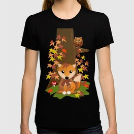 Fall fox, owls and leaves, vector illustration T-shirt
