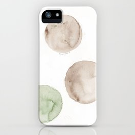 17|181104 Australian Leaf Green & Brown Earth Orbs | Watercolour Circle Abstract Geometrical iPhone Case