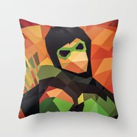 dc comics Throw Pillows featuring DC Comics Green Arrow by Eric Dufresne